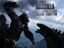 Kingkong vs godzilla - cover by GoldammerArt