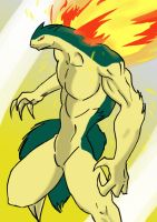 Anthro Typhlosion Colored by SpottedAlienMonster
