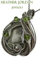 Iron-Nickel Meteorite Slice n Peridot in Sterling by HeatherJordanJewelry