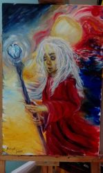 Raistlin Majere in red and he is sad a little bit  by Laklakkedi