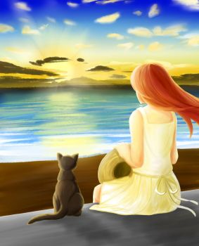 The Cat and The Crow - Summer Sunset by earthfairys