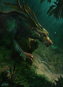 Short neck forest dragon by Kimagu