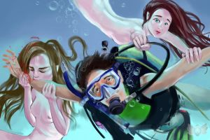 Diving with mermaids by MaliMalia