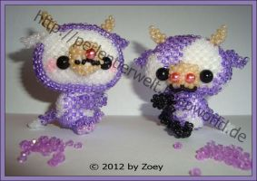 Milka cow and the bear dressed as Milka cow by Zoey-01