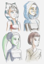 Young Jedi sketches by RaikohIllust