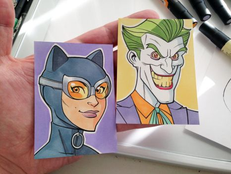 Catwoman and Joker Sketch Cards by D-MAC