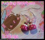 Pudding Strawberry Earrings by AyumiDesign