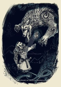 Tyr and Fenrir by Moerin