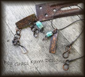 Lampwork Bead and Copper Necklace and Bracelet Set by bgfdesigns