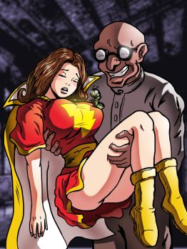 Mary Marvel is captured by Dr. Sivana and Mr. Mind by cuttlesquid