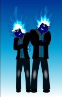 Blue Flame and Cyan Spark by Liyito