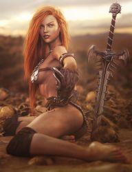 Sexy Red Head Warrior, Fantasy Woman Art, DS Iray by shibashake