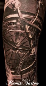 Sundial Compass Tattoo by Remistattoo