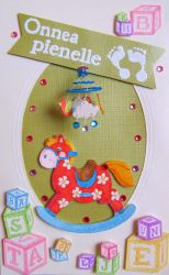 Rocking horse baby card by Coccis