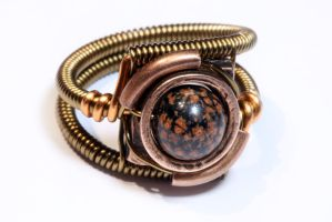 Steampunk ring with red snowflake obsidian by CatherinetteRings