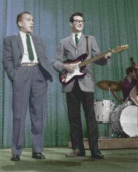 Buddy Holly on stage colorized by OldHank