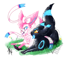 Umbreon And Sylveon Commission by Beautiful-Beasties