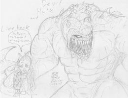 Devil Hulk and Linebeck by RavarokJudge