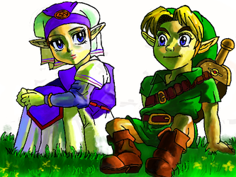 Zelda and Link by 53rdturtle