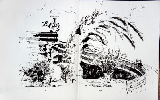 Pen sketch in a park by Rosane-Chawi