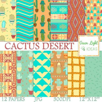 Cactus Desert Digital Papers by GreenLightIdeasGLI