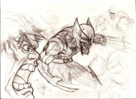 quick sketch Hulk wolverine by nic011