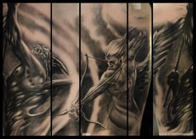 angel vs demon tattoo by Remistattoo