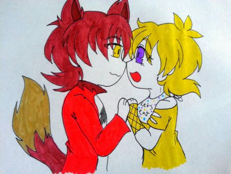 Inktober 20 Foxy x Chica by Fire-Miracle