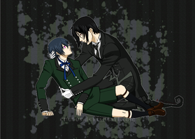 Ciel and Sebastian - Kuroshitsuji fan art by Enotus