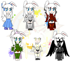 Assorted Chibis - The Many Armors of Rikka by Dragon-FangX