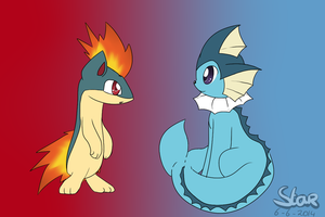 //Request// Quilava and Vaporeon by BlazingFlareonX