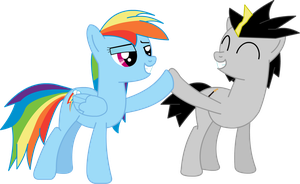 Strat and Rainbow Dash by StratMLP