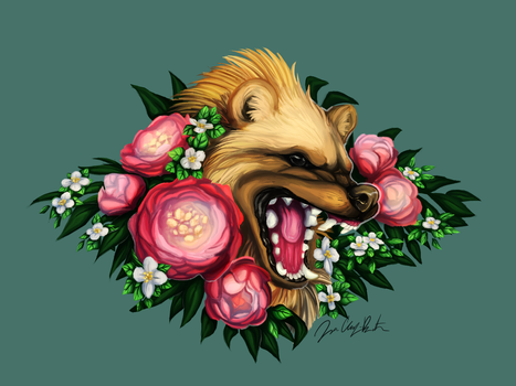 Floral Wolverine (Commission) by DewDog