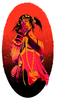 Machete litle girl (print for T-Shirt) by dead-cows-valley
