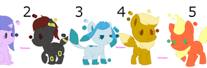 Adoption eevee ponies (CLOSED) 5points 6/6 by Veushei