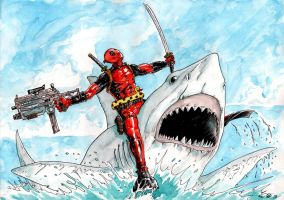 Deadpool Vs Jaws by emalterre