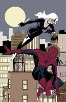 Spider-Man and Black Cat colors by jedgar22