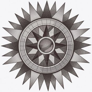 Vintage Textured Compass Black and White by GodsDreamer