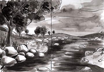 Inktober day 2: Tranquil by Reb-Makes-Art