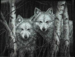 Wolves - Cross Stitch by susanjrobinson