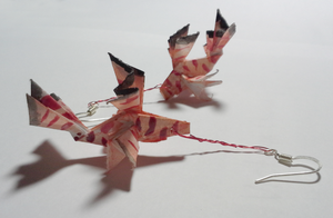Paper Lionfish Earrings by okamitsuki