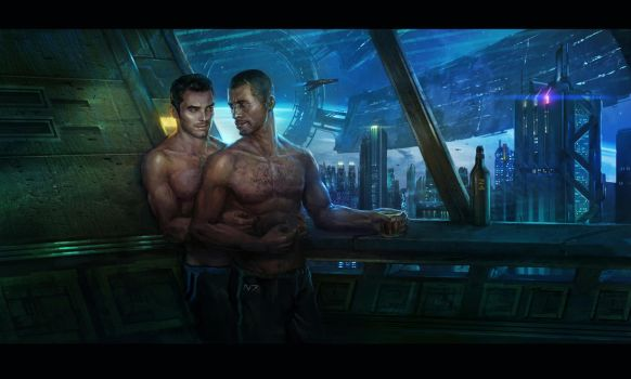 Kaidan and Shepard commission by AndrewRyanArt
