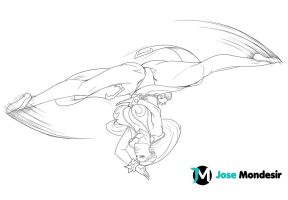 Chun Li Spinning Bird Kick by JoseMondesir