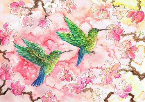 Green humming birds with Blossom by dawndelver