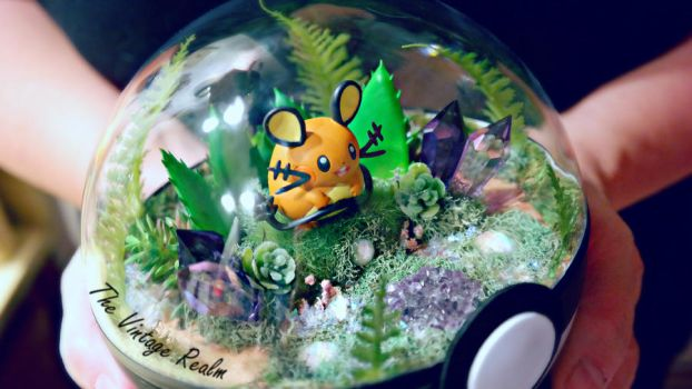 Poke Ball Terrarium Close Up - Dedenne by TheVintageRealm