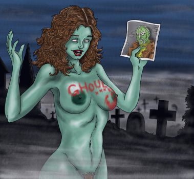 Jane the zombie gets Ghoul's autograph by Valerian13