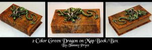 Ooak Polymer Clay Green Dragon on Map Book/Box by Tpryce
