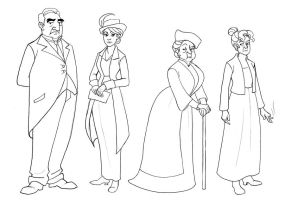 Downton Abbey- Character Lineup by TitanicGal1912