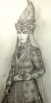 Khanum Sevindik Begotoglu in Court Dress by Gambargin