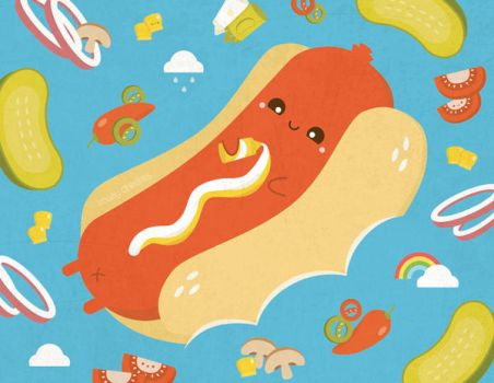 Tanning sausage on hot dog bun floaty by RoseyCheekes